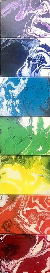 "Chakra Flow Multi panel chakra abstract. Acrylic on canvas, 12""x63"""